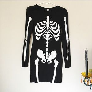 H&M Skeleton Print Body Con Mini Dress